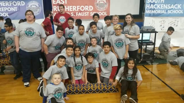 Students from Alfred S. Faust Middle School in East Rutherford built a bridge that helped them place second in a recent STEAM/robotics competition.