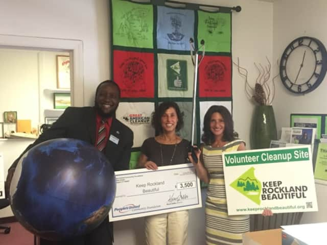 Flanking KRB Executive Director Sonia Nourok Cairo in the middle are Karen Galbo, Director of People's United Community Foundation, and Carlos Frank Jr., Lead Financial Service Associate, based in the Orangeburg Branch of People's United Bank.
