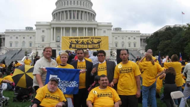 Representatives of the Rockland Independent Living Center rally in 2012 in the U.S. Capital for the rights of the disabled.  A meeting was recently held in Pomona to discuss increasing the role of the disabled in emergency planning.