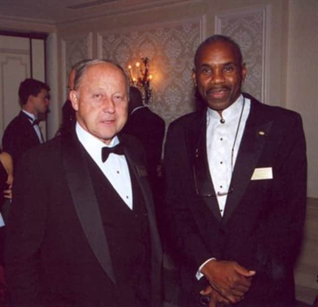 Ron Johnson of Fort Lee, New York Giants record holder, turns 68 Oct. 17.  Pictured with Jon Hanson when he became chairman of the National Football Foundation.