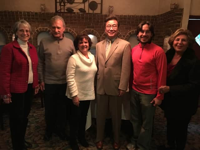 Pictured are Phyllis Rothschild,  Mr. and  Mrs. Muscat (WISE Sponsor), Paul Okura (Chamber President), Kevin Chin (WISE Sponsor), and Mariam Janusz, Chamber executive director.