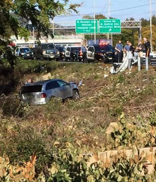The Ford Edge ended up in a ditch off southbound Route 17 in Ramsey.