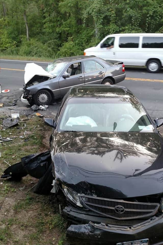 Ramapo police responded to a two-car accident along Route 45 in New Hempstead on Tuesday.
