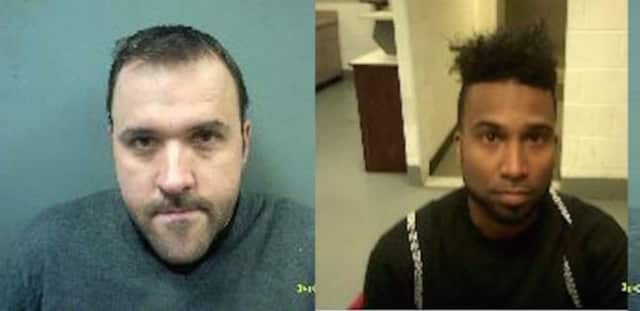 Jakub Ruminski, left, 39, of Norwalk, and Evron Trim, 31, of Milford, were arrested Sunday by Connecticut State Police.