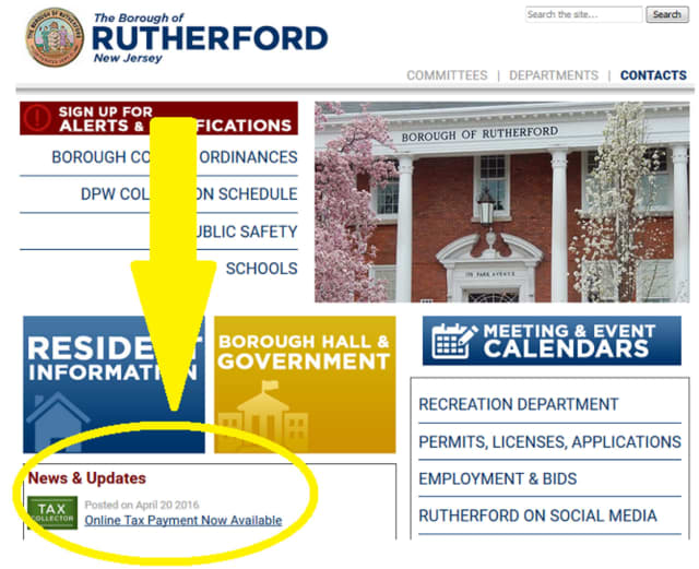 The Borough of Rutherford is now taking tax payments online.
