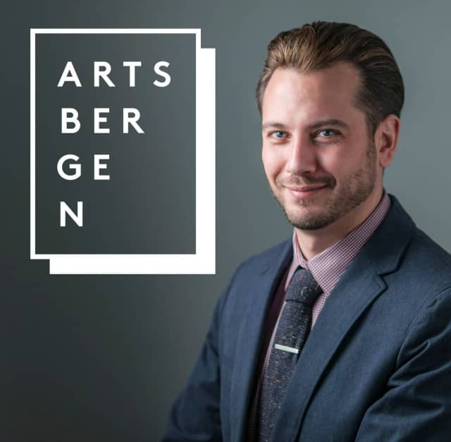 The Northern New Jersey Community Foundation's ArtsBergen has unveiled their new logo, shown with its designer Ryan Huban, a Leonia native.