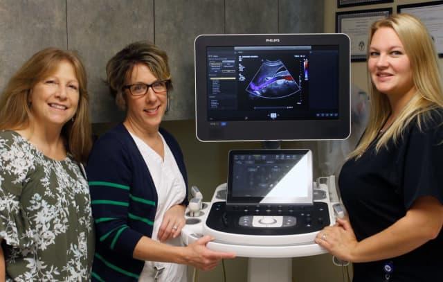 Members of the SACH Ultrasound Team (L-R): Rosemarie Richardsen, RT(M),  ARDMS, AB, BR, OB/GYN, Nancy Sernotti, ARDMS, AB, OB/GYN and Karen Heller, ARDMS, OB/GYN