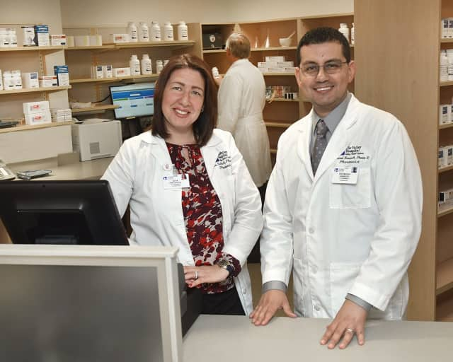 Pharmacists Gita Natovich and Raymond Hawash at Valley's new pharmacy located on the hospital's first floor.