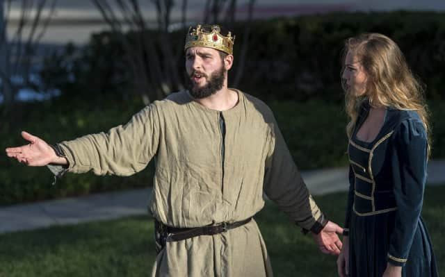 "Patrick Robinson and Jordan Norkus, pictured in Sacred Heart University's production of ""Macbeth,"" are up for regional acting awards from BroadwayWorld.com."