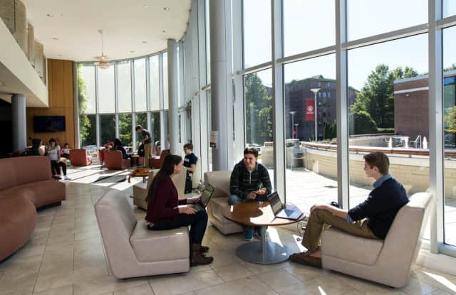Students gather in the University Commons Atrium at Sacred Heart University in Fairfield.