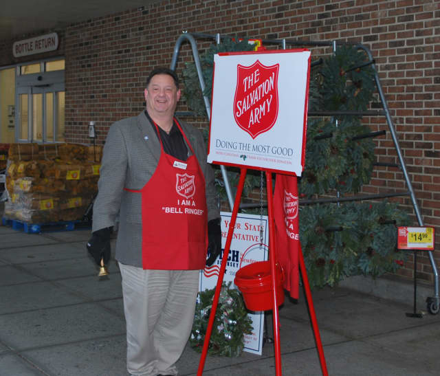 Newtown Rep. Mitch Bolinsky rang the bells for the Salvation Army last week.