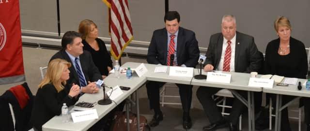 State Reps. Brenda Kupchick, far left, and Laura Devlin, far right, hailed passage of landmark opioid legislation in the state House of Representatives.