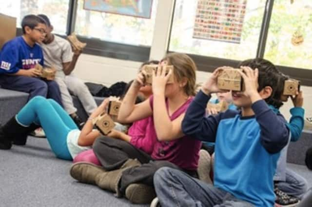 Students try Google Expedition.