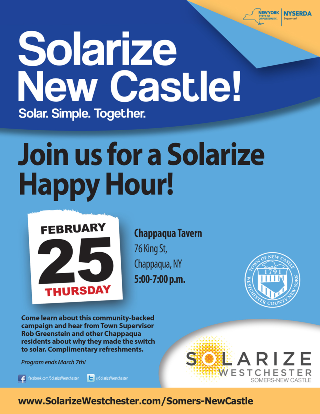 Solarize New Castle will hold a happy hour from 5 to 7 p.m. at the Chappaqua Tavern on Thursday to inform residents about the solarize program available to them.