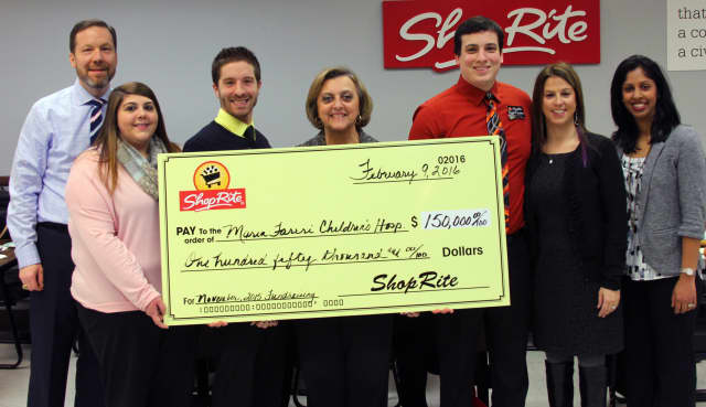 Team members from ShopRite Supermarkets, Inc. (SRS) present a check for $150,000 to representatives from Maria Fareri Children's Hospital, a member of the Westchester Medical Center Health Network.