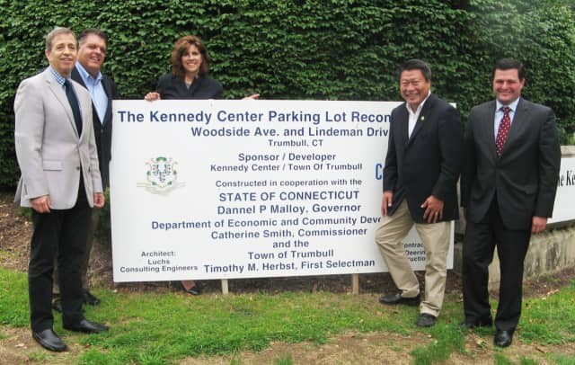 Celebrating the major project are (l-r) Kennedy Center President Martin D. Schwartz. state Rep. David Rutigliano, Jo Ann McMullan, the center's vice president of development, state Sen. Tony Hwang and First Selectman Tim Herbst.