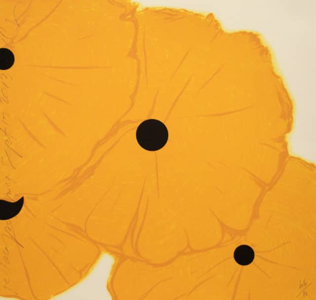 "Donald Sultan, ""Yellow Poppies,"" September 12, 2013, 8 color screen-print with flocking. Image courtesy of the artist and Mary Ryan Gallery, New York."