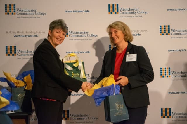 SUNY Delhi Provost Kelli Ligeikis with Westchester Community College Vice President of Academic Affairs Vanessa Morest (left to right).