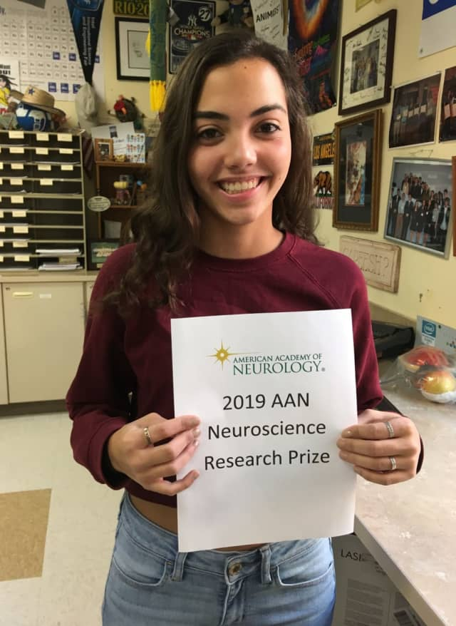 Sabrina Piccirillo-Stosser, Osssining High School senior and finalist for the 2019 Neuroscience Research Prize.