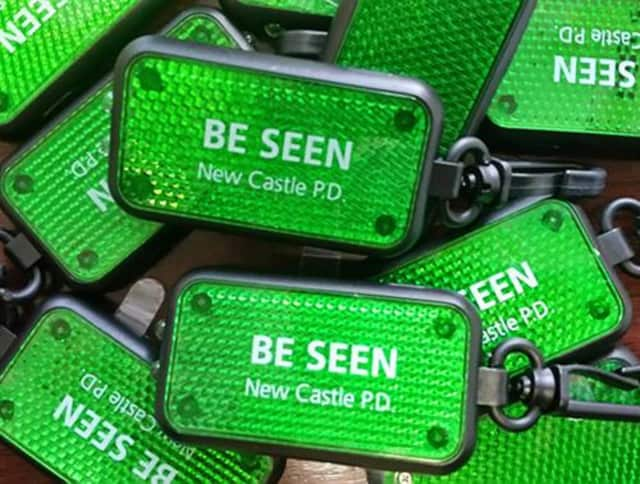Residents can stop by the New Castle Police Department and pick up a free pedestrian safety reflector while supplies last.
