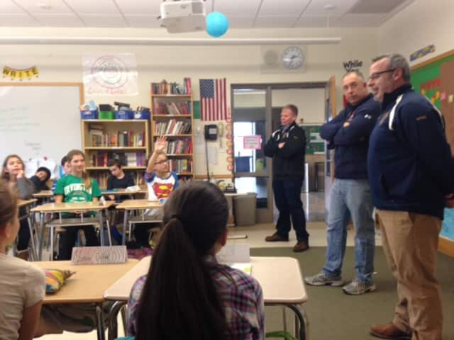 Irvington Middle School students received safety tips from Irvington Fire Chief Chris DiPaoli and Police Officers Mike Toolan and E.J. Semen on Jan. 15 as part of the school's sixth-grade health curriculum.