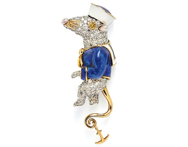 An enamel and diamond Stuart Little Sailor Mouse Brooch by Donald Claflin, Tiffany & Co., sold at Skinner Inc. for $25,830.