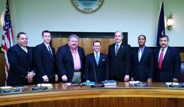 Port Chester Village Trustee Sam Terenzi, third from left, died on Tuesday.