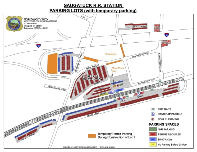 A map of the Saugatuck Train Station in Westport. Construction will begin at Lot 1 on Monday.