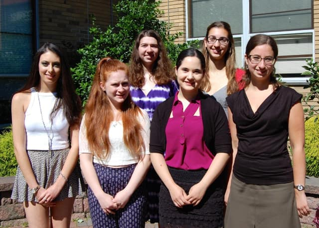 The National Council of Jewish Women Bergen County Section 2016 scholarship winners (left to right) are Justine Laufer, Lauren Gerlin, Leah Field, Inbar Tivon, Mikaela Rosen and Rachel Gleyzer. Not pictured: Danielle Mandelblatt.
