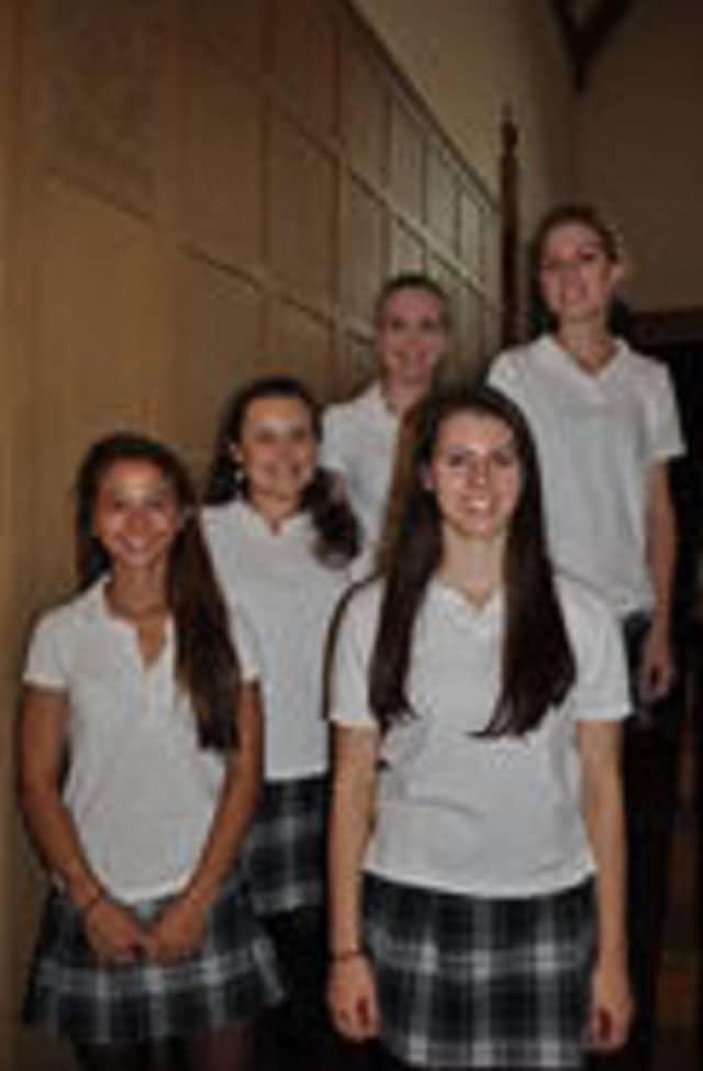 Bottom row L-R: Mercedes (Miffy) Riley, Annemarie Altomare; Middle row: Caitlin Panarella; Back: Mary McAllister, Anna Liddy