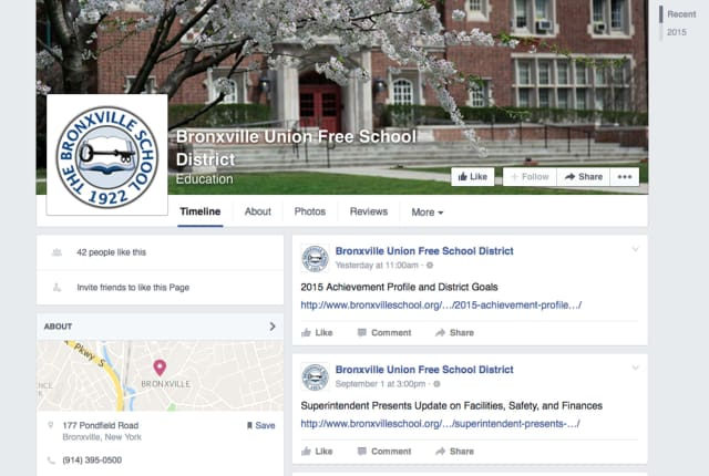 The Bronxville Union Free School District has opened a Facebook page to help communicate with the community.