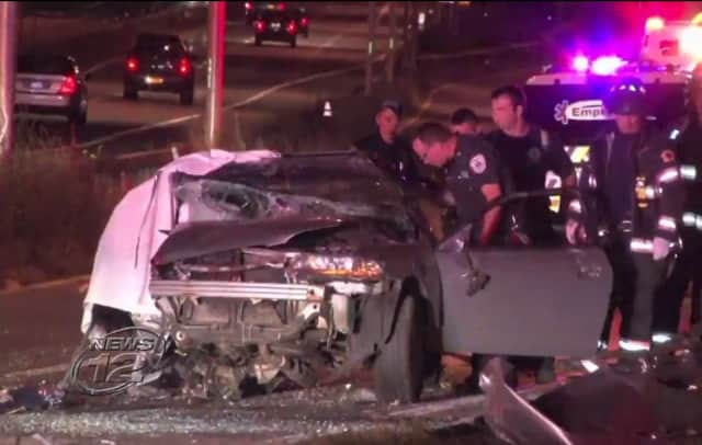 A woman was killed and a man injured in an overnight crash on the Cross County Parkway under the Seminary Avenue overpass in Yonkers, according to police.