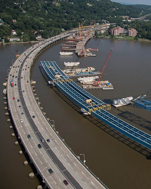 A portion of the Tappan Zee Bridge span. Bus service also is expected to improve once a new $4 billion bridge is completed.
