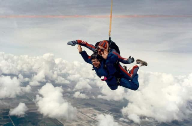 The late Mary Wyman Hunt celebrated her 65th birthday by going skydiving with her oldest son, Charles, aka Chad.