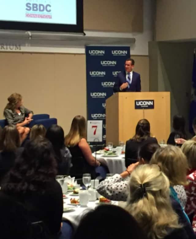 Gov. Dannel Malloy speaks at UConn School of Business' 3rd annual Women Entrepreneurs Empowerment Forum.