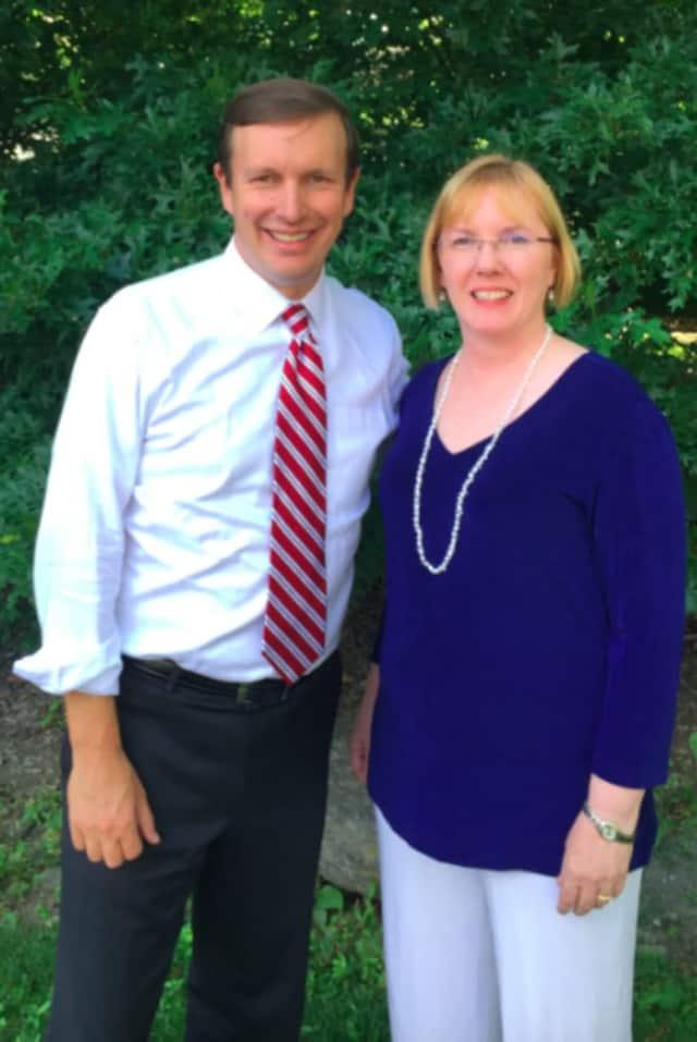 U.S. Sen. Chris Murphy, D-Conn., left, recently endorsed Democratic candidate Deborah McFadden's bid for Wilton's first selectman.
