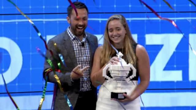 Google Science Fair Awards Ceremony presenter Derek Muller and grand prize winner Olivia Hallisey.