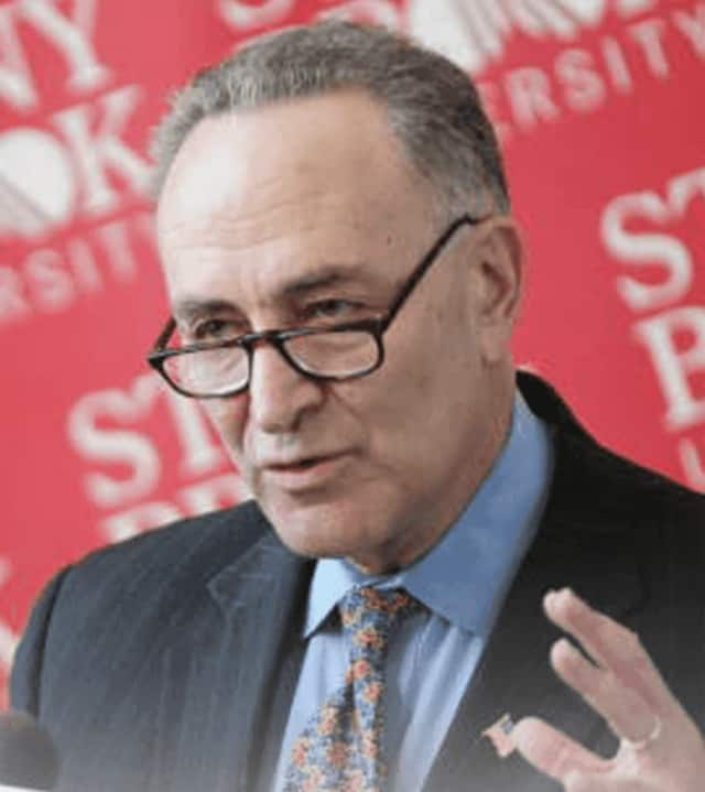 Sen. Chuck Schumer was in Larchmont to discuss problems with the post office.