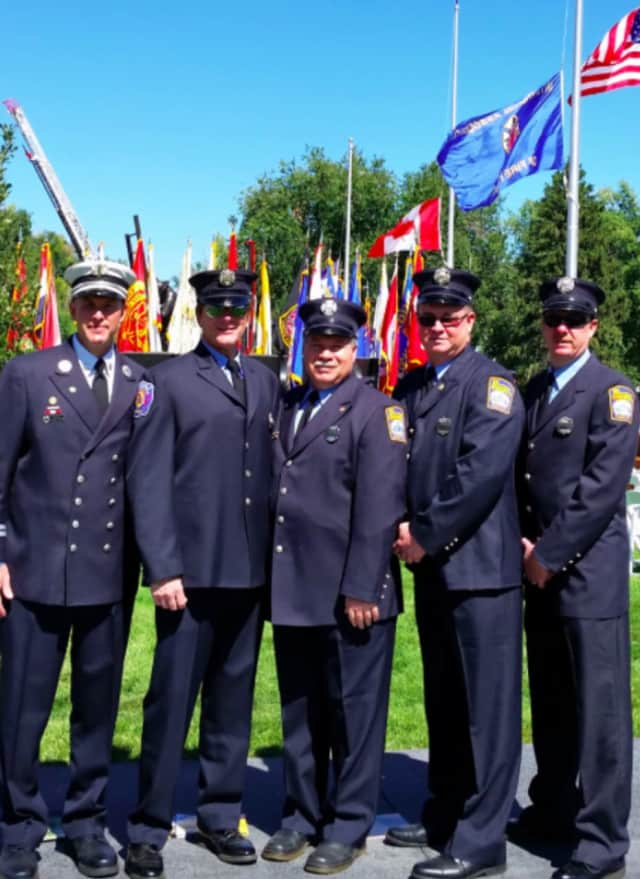 These members of the Stamford Professional Fire Fighters Association, from left, Matthew Palmer, William Wieck, Charles Cackowski, Brendan Keatley and Ralph Falloon attended a ceremony to honor fallen firefighters in Colorado Springs.