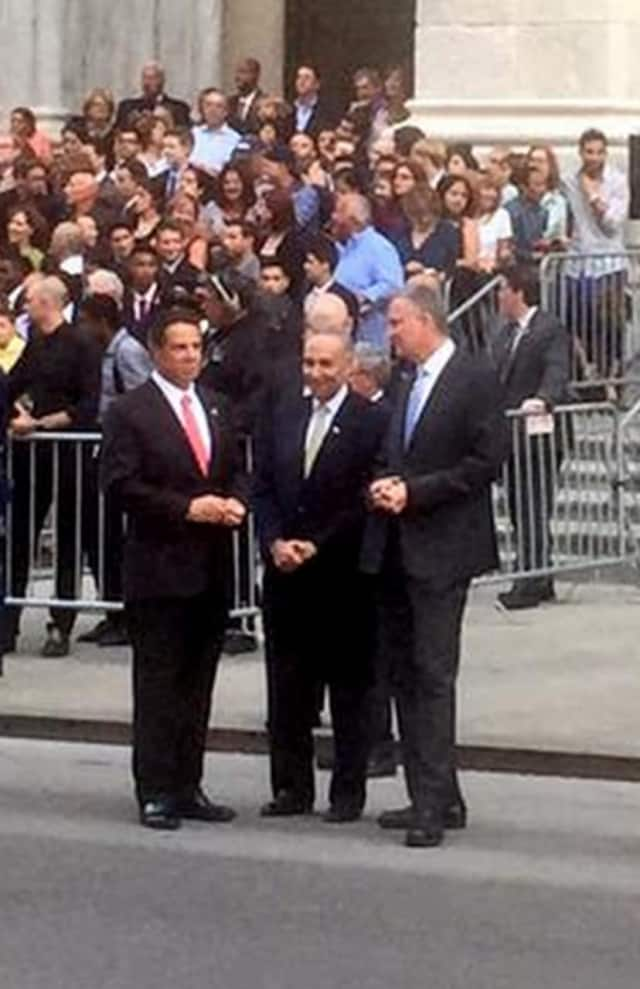 Gov. Andrew Cuomo, far left, waiting outside St. Patrick's Cathedral to greet Pope Francis alongside Sen. Chuck Schumer and New York City Mayor Bill de Blasio on Thursday.