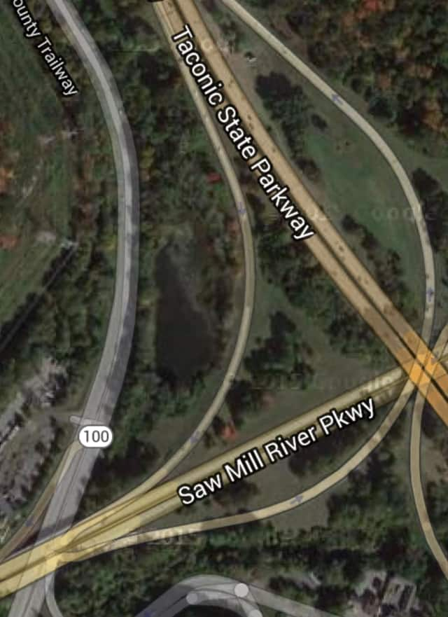 The interchange of the Taconic and Saw Mill River Parkways in Hawthorne.