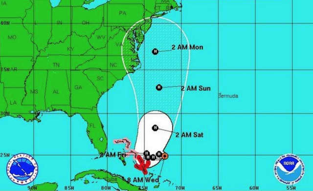The projected path of Joaquin, the third hurricane of the hurricane season.