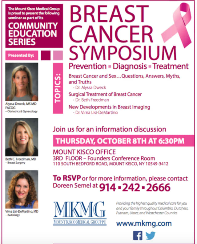 Mount Kisco Medical Group will host a breast cancer symposium on Thursday, Oct. 8.