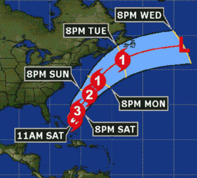 A look at the latest projected path for Hurricane Joaquin, which keeps it well offshore from the area.