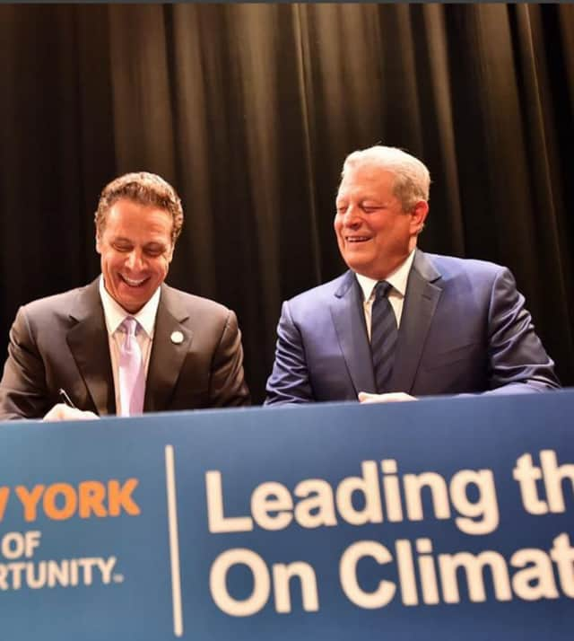 Gov. Andrew Cuomo and former Vice President Al Gore announced New York will participate in a global effort to reduce greenhouse gas emissions and keep global temperatures from rising.
