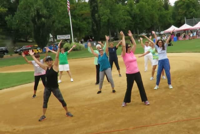 Attendees enjoy Zumba at Old Tappan Town Day. Bernadette Kricheff will host a Zumbathon to benefit those with cancer.
