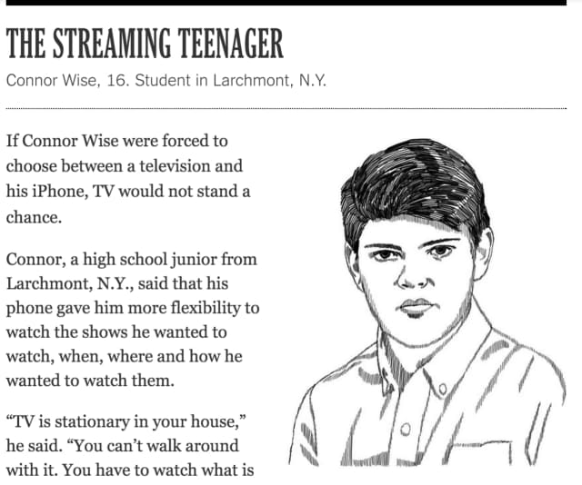"""Connor Wise, 16, of Larchmont was featured in a New York Times story, """"How We Watch."""""""