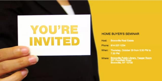 Bronxville Real Estate will host a free home buyer's seminar on Thursday, Oct. 29.