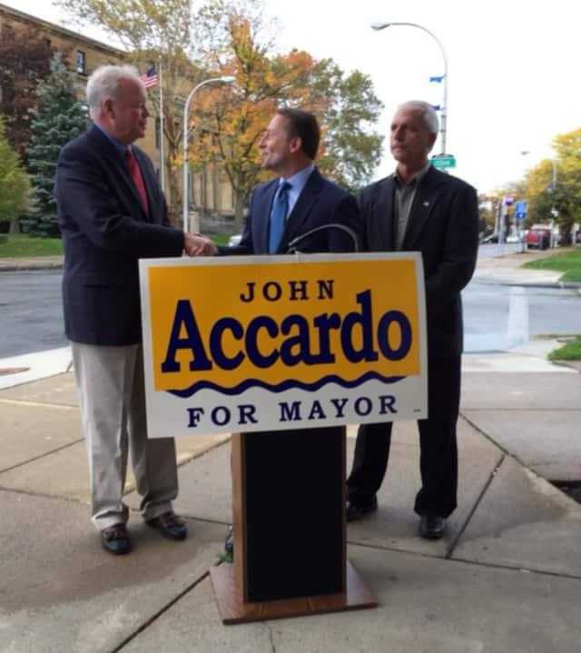 Westchester County Executive Rob Astorino mayoral candidate John Accardo at a stop in Niagara Falls.