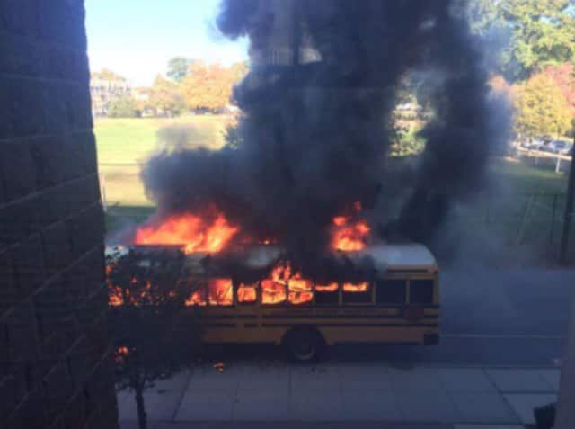 Students were evacuated from the Pelham High and Middle Schools on Friday following the bus fire.